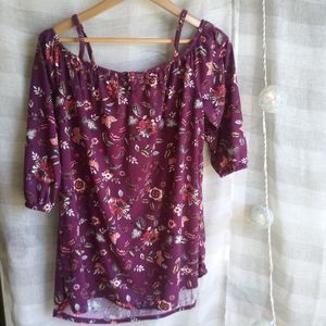 FRENCH LAUNDRY large purple floral cold shoulder